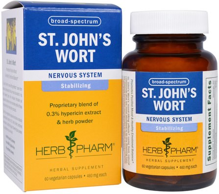 St. Johns Wort, 460 mg, 60 Veggie Caps by Herb Pharm, 草藥,聖。約翰斯麥汁 HK 香港