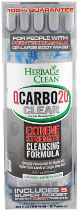 QCarbo20 Clear, Lemon-Lime Flavor, 5 Tablets, 20 fl oz (591 ml) by Herbal Clean, 健康,排毒 HK 香港