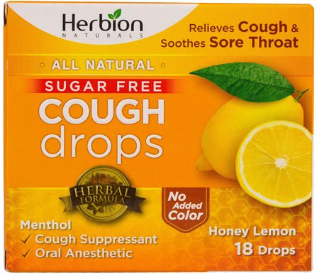 Cough Drops, Sugar Free, Honey Lemon, 18 Drops by Herbion, 健康,肺和支氣管,咳嗽滴 HK 香港