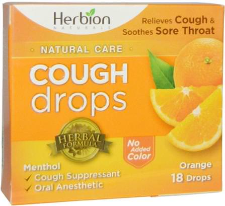 Natural Care, Cough Drops, Orange, 18 Drops by Herbion, 健康,肺和支氣管,咳嗽滴 HK 香港