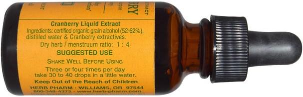 草藥,蔓越莓 - Herb Pharm, Cranberry, 1 fl oz (29.6 ml)