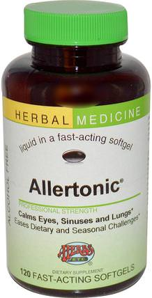 Allertonic, Alcohol Free, 120 Fast-Acting Softgels by Herbs Etc., 健康,過敏,過敏 HK 香港