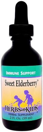 Herbs for Kids, Immune Support, Sweet Elderberry, 2 fl oz (59 ml) 健康,感冒流感和病毒,免疫系統,兒童健康,兒童補品