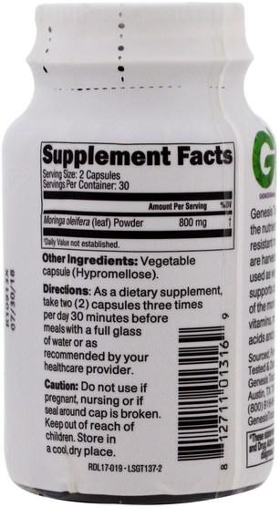 草藥,辣木膠囊 - Genesis Today, Moringa, 800 mg, 60 Veggie Caps