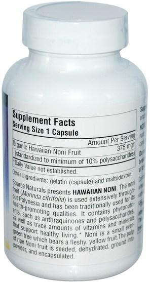 草藥,諾麗果汁提取物,諾麗膠囊 - Source Naturals, Hawaiian Noni, 375 mg, 120 Capsules
