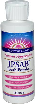 IPSAB Tooth Powder, Natural Peppermint, 4 oz (113 g) by Heritage Stores, 洗澡,美容,牙膏 HK 香港