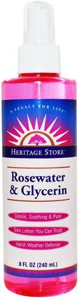Rosewater & Glycerin, Atomizer Mist Sprayer, 8 fl oz (240 ml) by Heritage Stores, 沐浴,美容,個人衛生,香水噴霧 HK 香港