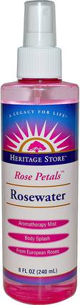 Rosewater, Rose Petals, 8 fl oz (240 ml) by Heritage Stores, 沐浴,美容,個人衛生,香水噴霧 HK 香港