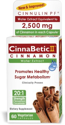 CinnaBetic II, Water Extract, Cinnamon, 60 Vegetarian Capsules by Hero Nutritional Products, 健康,血糖,草藥,肉桂提取物 HK 香港
