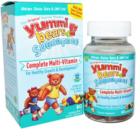 Yummi Bears, Complete Multi-Vitamin, Sugar Free, Fruit Flavors, 60 Gummy Bears by Hero Nutritional Products, 維生素,多種維生素,兒童多種維生素,多種維生素 HK 香港