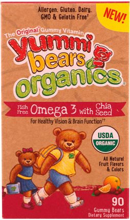 Yummi Bears Organics, Fish Free Omega 3 with Chia Seed, All Natural Fruit Flavors & Colors, 90 Gummy Bears by Hero Nutritional Products, 補充劑,efa omega 3 6 9(epa dha) HK 香港