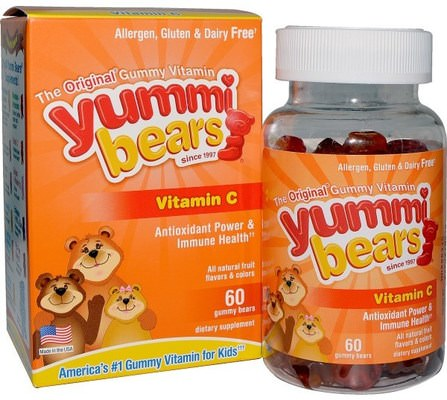 Yummi Bears, Vitamin C, Fruit Flavors, 60 Gummy Bears by Hero Nutritional Products, 兒童健康,補充兒童,維生素C,維生素C gummies HK 香港