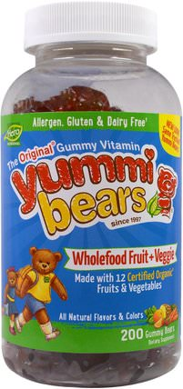 Yummi Bears, Wholefood Fruit + Veggie, 200 Gummy Bears by Hero Nutritional Products, 維生素,多種維生素,兒童多種維生素,多種維生素 HK 香港