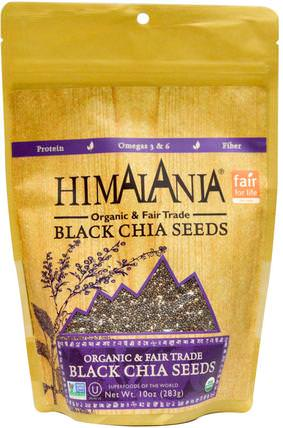 Organic & Fair Trade Black Chia Seeds, 10 oz (283 g) by Himalania, 補充劑,efa omega 3 6 9(epa dha),正大種子 HK 香港
