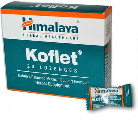 Koflet, 20 Lozenges by Himalaya Herbal Healthcare, 健康,肺和支氣管,咳嗽滴 HK 香港
