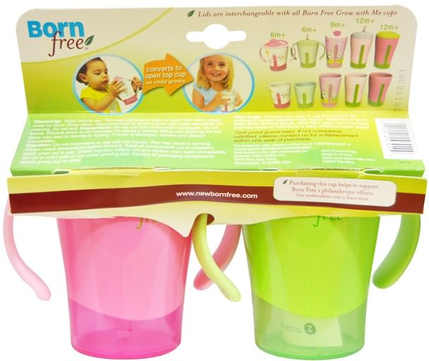 家庭,廚具,杯碟碗,兒童健康,嬰兒餵養,吸管杯 - Born Free, Grow with Me, Training Straw Cup, Green and Pink, 2 Pack, 6 oz Each