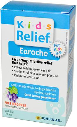 Kids Relief, Earache for Kids 0-9, Grape Flavor, 0.85 fl oz (25 ml) by Homeolab USA, 兒童健康,補充兒童,嬰兒,嬰兒補品 HK 香港