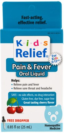 Kids Relief, Pain & Fever for Kids, Cherry Flavor, 0.85 fl oz (25 ml) by Homeolab USA, 兒童健康,感冒流感咳嗽,感冒流感和病毒,感冒和流感 HK 香港