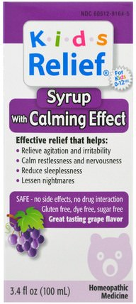 Kids Relief, Syrup with Calming Effect, Grape Flavor, 3.4 fl oz (100 ml) by Homeolab USA, 兒童健康,補充兒童,健康 HK 香港