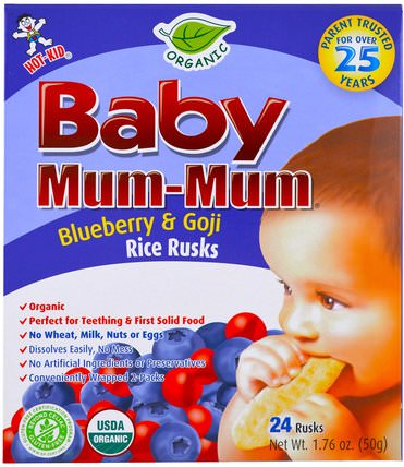 Baby Mum-Mum, Organic Rice Rusk, Blueberry & Goji Rice Rusks, 24 Rusks, 17.6 oz (50 g) Each by Hot Kid, 兒童健康,嬰兒餵養,嬰兒零食和手指食品,出牙餅乾餅乾,兒童食品 HK 香港