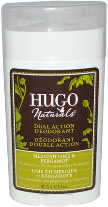 Dual Action Deodorant, Mexican Lime & Bergamot, 1.5 oz (42.5 g) by Hugo Naturals, 洗澡,美容,除臭劑 HK 香港