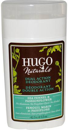 Dual Action Deodorant, Sea Fennel & Passionflower, 1.5 oz (42.5 g) by Hugo Naturals, 洗澡,美容,除臭劑 HK 香港
