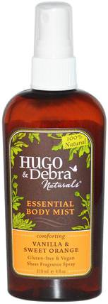 Essential Body Mist, Vanilla & Sweet Orange, 4 fl oz (118 ml) by Hugo Naturals, 沐浴,美容,香水噴霧,家居,空氣清新劑除臭劑 HK 香港