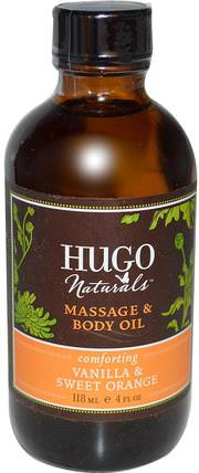 Massage & Body Oil, Vanilla & Sweet Orange, 4 fl oz (118 ml) by Hugo Naturals, 健康,皮膚,沐浴,美容油,身體護理油,按摩油 HK 香港