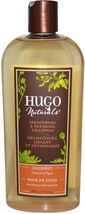 Smoothing & Defining Shampoo, Coconut, 12 fl oz (355 ml) by Hugo Naturals, 洗澡,美容,頭髮,頭皮,洗髮水,護髮素 HK 香港