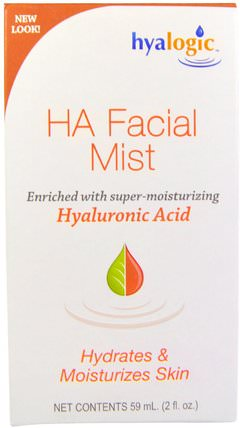 2 oz (59 ml) by Hyalogic HA Facial Mist with Hyaluronic Acid, 美容,透明質酸皮膚,面部護理,皮膚類型正常至乾性皮膚 HK 香港
