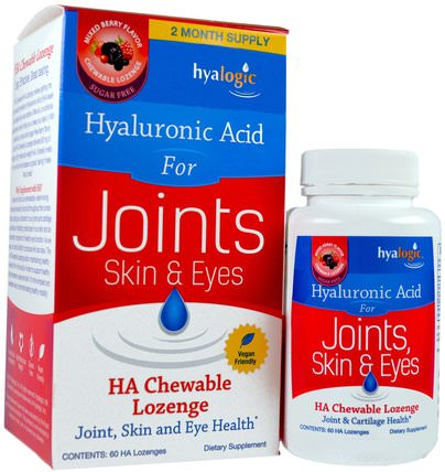 Skin & Eyes, Mixed Berry Flavor, 60 HA Chewable Lozenges by Hyalogic Hyaluronic Acid For Joints, 健康,骨骼,骨質疏鬆,抗衰老,關節健康 HK 香港