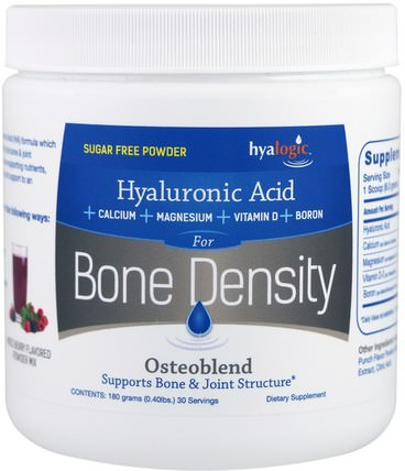 Hyaluronic Acid, For Bone Density, Mixed Berry, 0.40 lbs (180 g) by Hyalogic Osteoblend, 補品,健康,骨骼 HK 香港