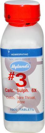 Hylands, #3 Calc. Sulph. 6X, 1000 Tablets 健康,感冒流感和病毒,喉嚨護理噴霧,感冒和流感
