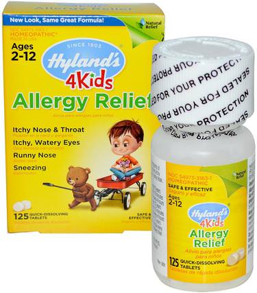 4 Kids, Allergy Relief, 125 Quick-Dissolving Tablets by Hylands, 補品,順勢療法,過敏,過敏 HK 香港