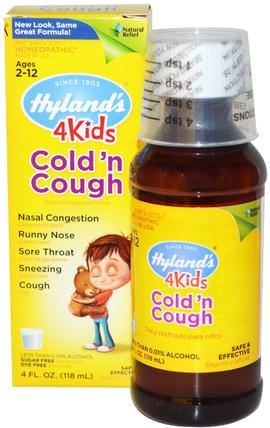 4 Kids Cold n Cough, 4 fl oz (118 ml) by Hylands, 兒童健康,感冒感冒咳嗽,順勢療法咳嗽感冒和流感 HK 香港
