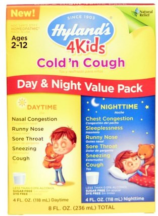 4 Kids Cold n Cough Day & Night Value Pack, 4 fl oz (118 ml) Each by Hylands, 兒童健康,感冒感冒咳嗽,順勢療法咳嗽感冒和流感 HK 香港