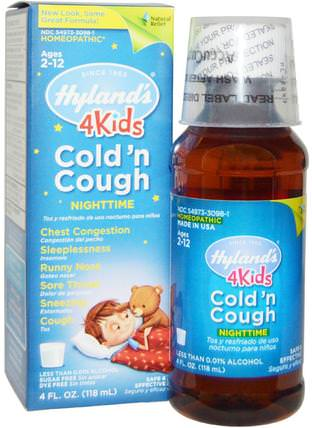 4 Kids Cold n Cough Nighttime, Age 2-12, 4 fl oz (118 ml) by Hylands, 兒童健康,感冒感冒咳嗽,順勢療法咳嗽感冒和流感 HK 香港