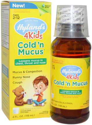 4 Kids, Cold n Mucus, 4 fl oz (118 ml) by Hylands, 補品,順勢療法,感冒感冒咳嗽 HK 香港