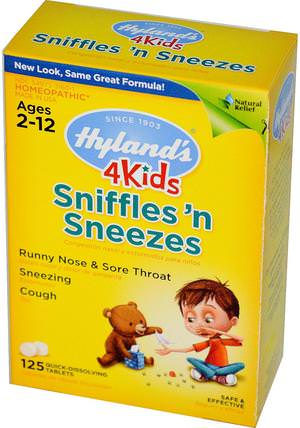 4 Kids, Sniffles n Sneezes, 125 Quick-Dissolving Tablets by Hylands, 補品,順勢療法,感冒感冒咳嗽 HK 香港