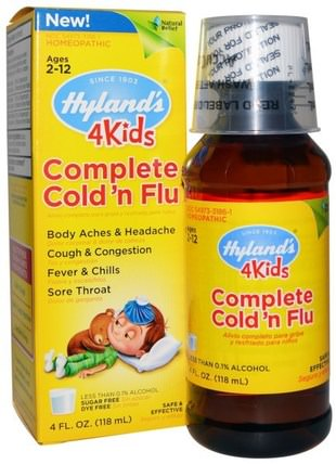 4Kids, Complete Cold n Flu, 4 fl oz (118 ml) by Hylands, 兒童健康,感冒感冒咳嗽,順勢療法咳嗽感冒和流感 HK 香港