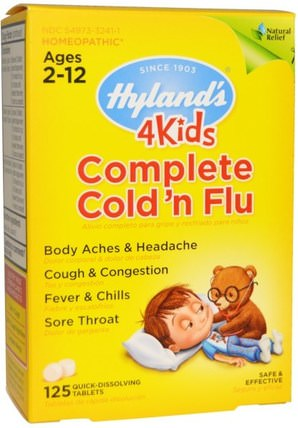 4Kids Complete Cold n Flu, Ages 2-12, 125 Quick-Dissolving Tablets by Hylands, 兒童健康,感冒感冒咳嗽,順勢療法咳嗽感冒和流感 HK 香港