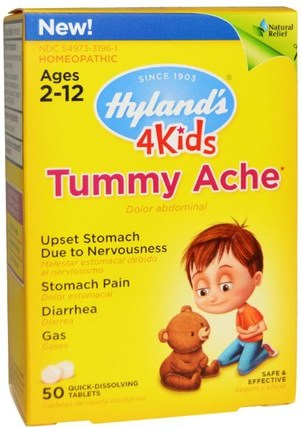 4Kids, Tummy Ache, 50 Tablets by Hylands, 兒童健康,感冒感冒咳嗽 HK 香港