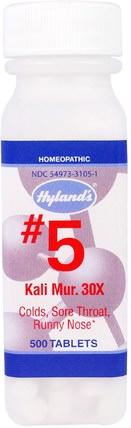 Hylands, #5 Kali Mur. 30X, 500 Tablets 補品,順勢療法,感冒和病毒,感冒和流感