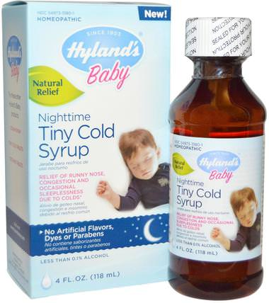 Baby, Nighttime Tiny Cold Syrup, 4 fl oz (118 ml) by Hylands, 兒童健康,嬰兒,嬰兒補品,順勢療法 HK 香港