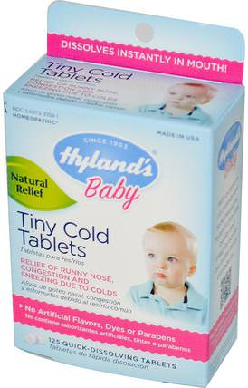 Baby, Tiny Cold Tablets, 125 Quick-Dissolving Tablets by Hylands, 兒童健康,嬰兒,嬰兒補品,順勢療法 HK 香港
