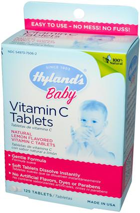 Baby, Vitamin C Tablets, Natural Lemon Flavored, 125 Tablets by Hylands, 兒童健康,嬰兒,嬰兒補充劑,維生素C,維生素C咀嚼片 HK 香港