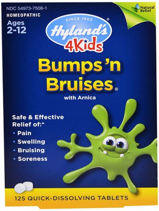4Kids, Bumps n Bruises with Arnica, 125 Quick-Dissolving Tablets by Hylands, 補品,順勢療法,山金車蒙大拿州,山金車 HK 香港