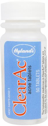 ClearAc, 50 Tablets by Hylands, 健康,痤瘡 HK 香港