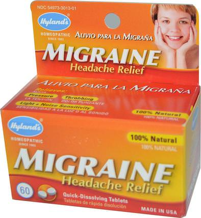 Migraine Headache Relief, 60 Tablets by Hylands, 健康,頭痛,抗疼 HK 香港