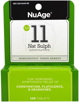 NuAge, No 11 Nat Sulph, Sodium Sulphate, 125 Tablets by Hylands, 健康,便秘 HK 香港